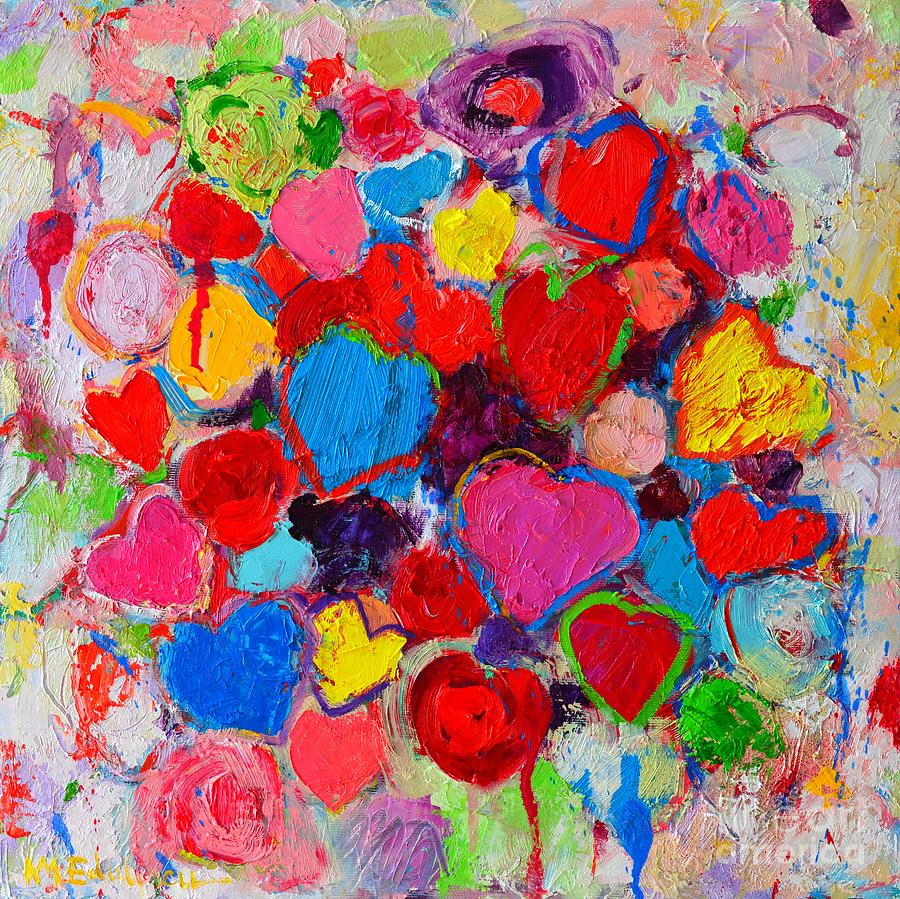 Abstract Love Bouquet Of Colorful Hearts And Flowers Painting by Ana ...