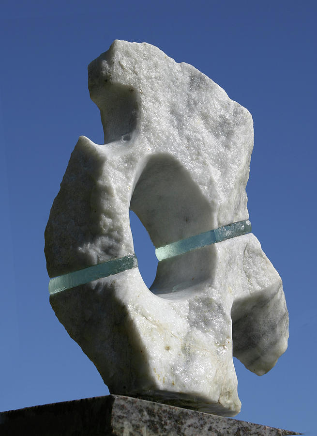 Marble Sculpture Sculpture - Abstract Marble And Glass by Tommy  Urbans