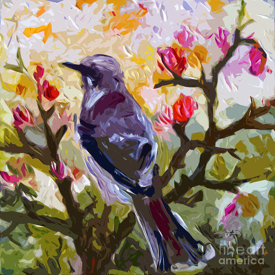 Abstract mockingbird in spring painting by ginette callaway for Spring canvas paintings