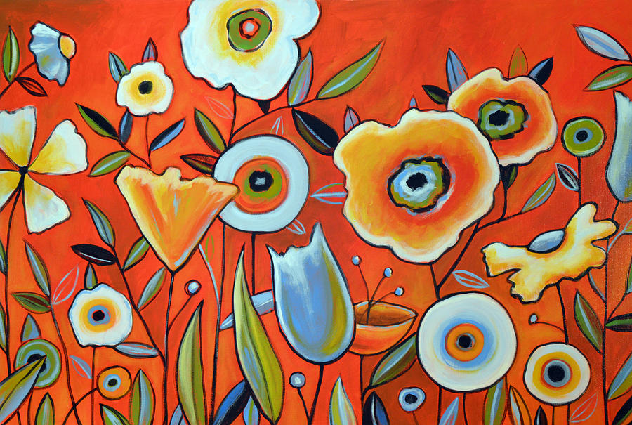 Abstract modern flowers garden art perfect day for Modern flower paintings