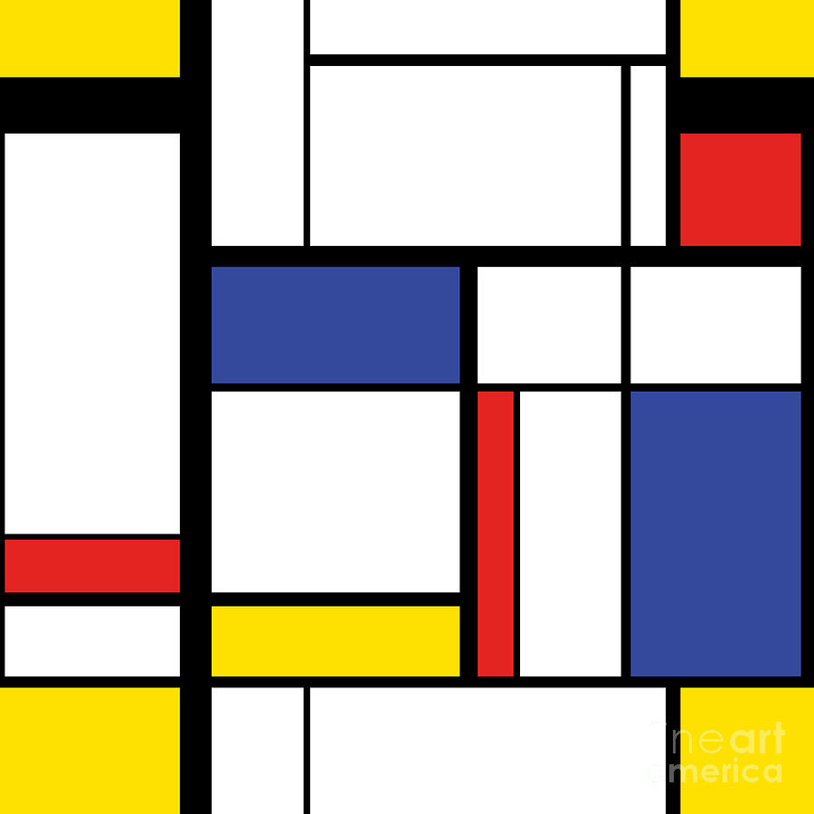 Repetition Digital Art - Abstract Modern Painting In Mondrian by Lars Poyansky