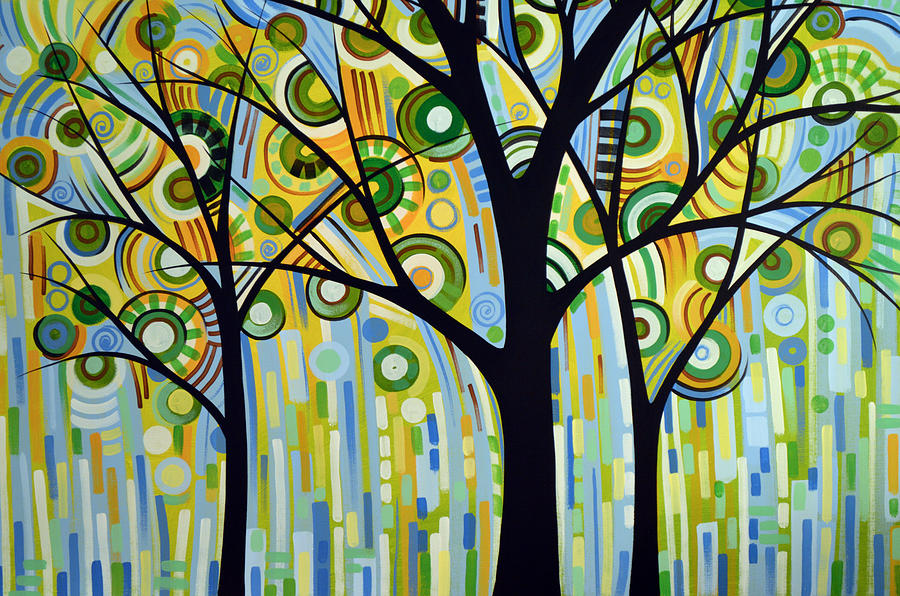 Abstract Modern Tree Landscape Spring Rain By Amy Giacomelli