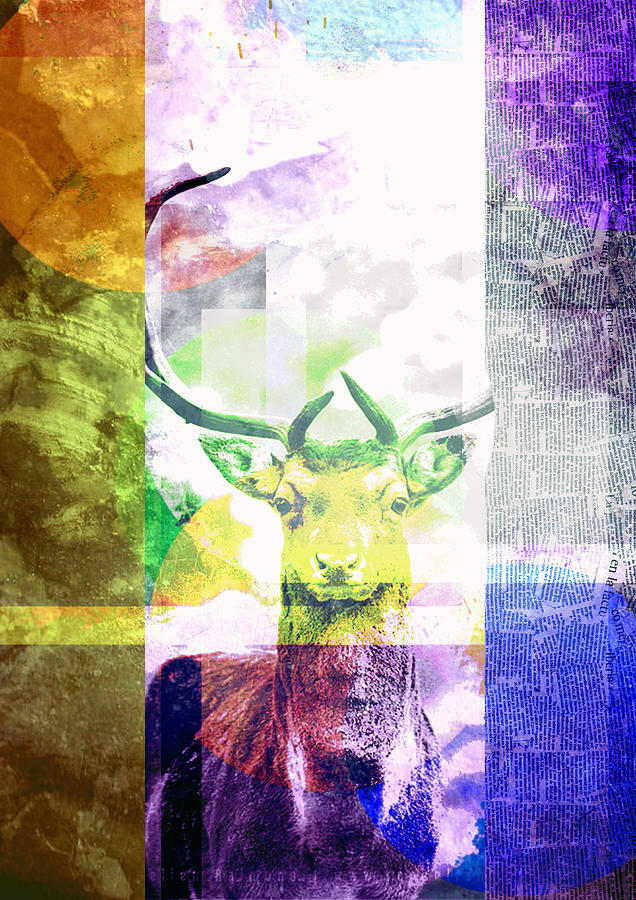 Abstract Digital Art - Abstract Nature Deer Portrait by IamLoudness Studio