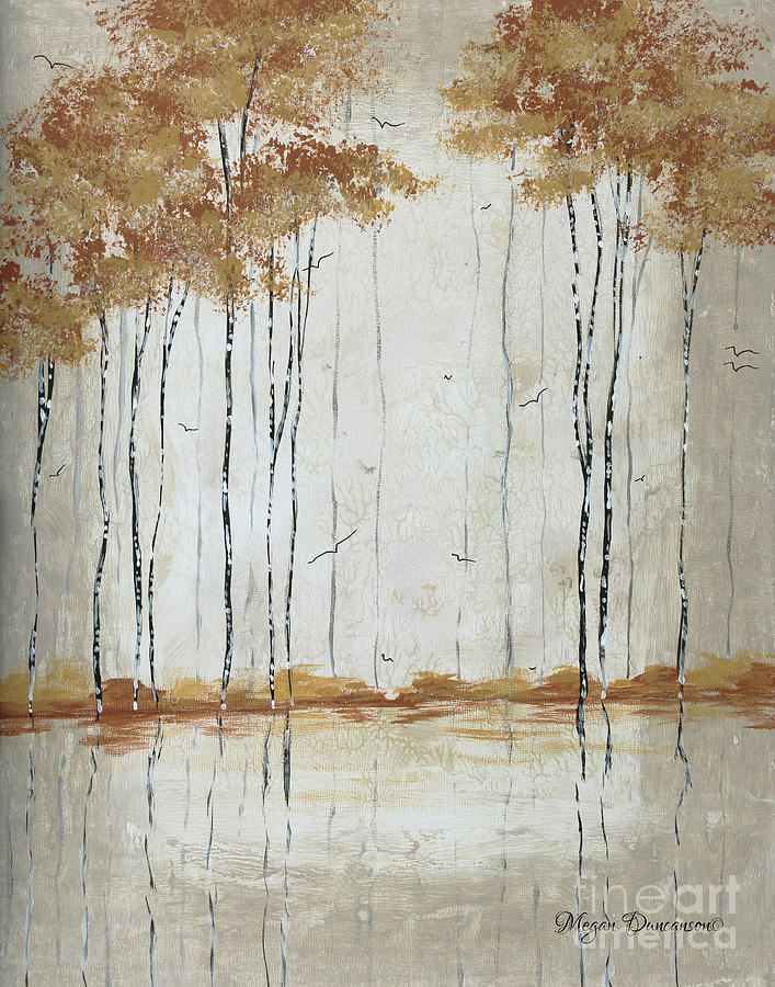 Abstract Painting - Abstract Neutral Landscape Pond Reflection Painting Mystified Dreams II By Megan Ducanson by Megan Duncanson