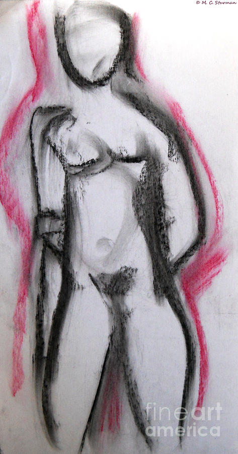 Abstract Nude Painting - Abstract Nude With Red by M C Sturman