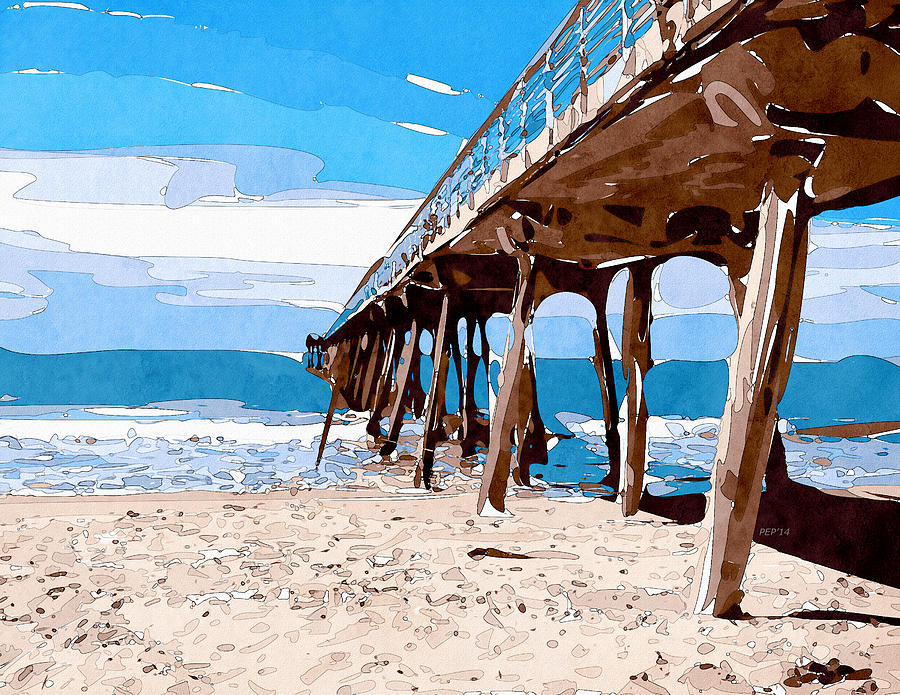 Abstract Digital Art - Abstract Ocean Pier by Phil Perkins
