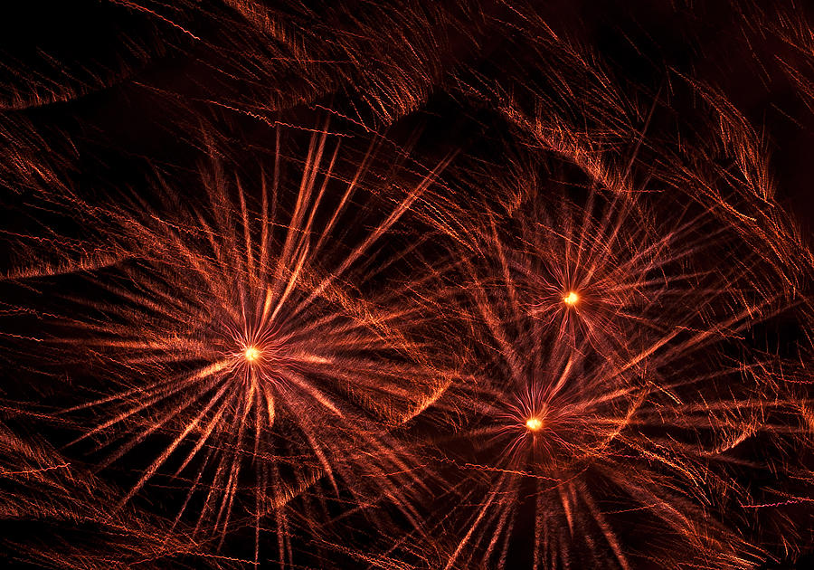 Abstract Photograph - Abstract Of Fireworks On Black by Jess Kraft