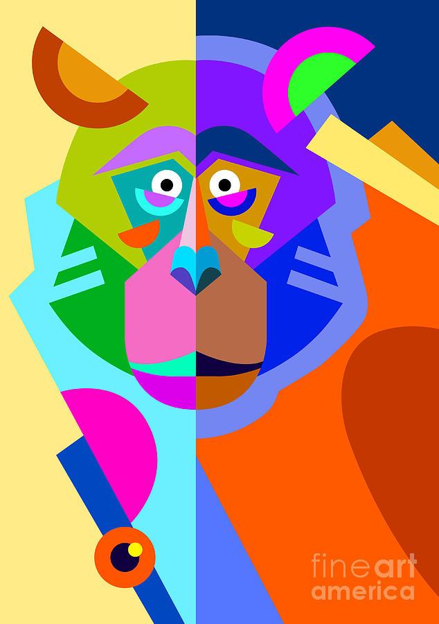 Monkey Digital Art - Abstract Original Monkey Drawing In by Karakotsya