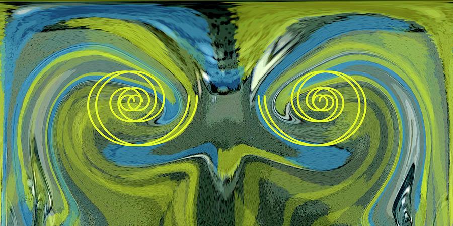 Abstract Bird Digital Art - Abstract Owl Portrait by Ben and Raisa Gertsberg
