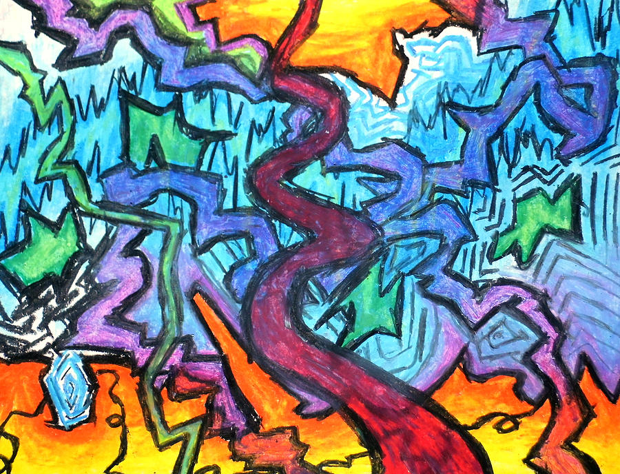 Abstract Drawing - Abstract Paths by Jera Sky