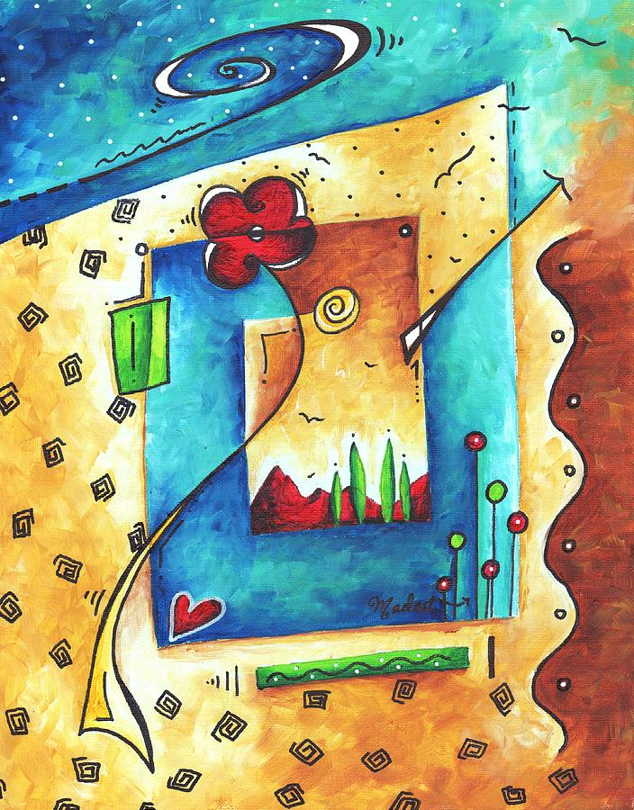 Abstract Painting - Abstract Pop Art Landscape Floral Original Painting Joyful World By Madart by Megan Duncanson