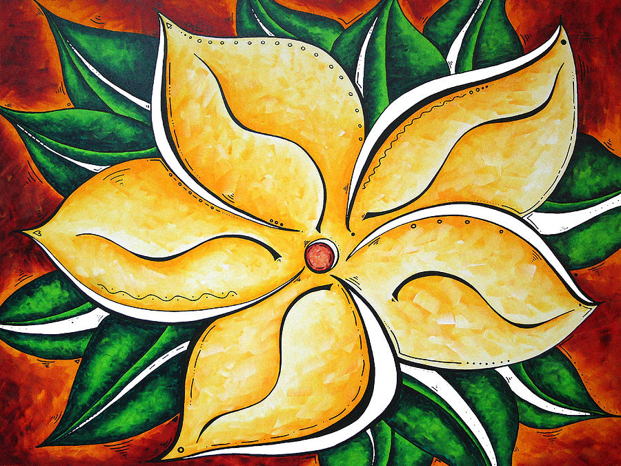 Abstract Painting - Abstract Pop Art Yellow Plumeria Flower Tropical Passion By Madart by Megan Duncanson