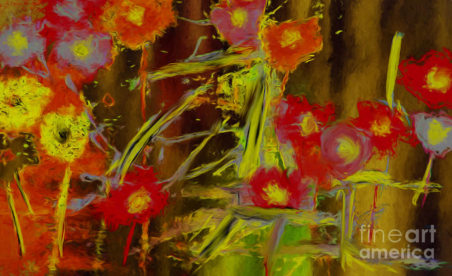 Landscape Painting - Abstract Poppies Flowers Mixed Media Painting by Heinz G Mielke