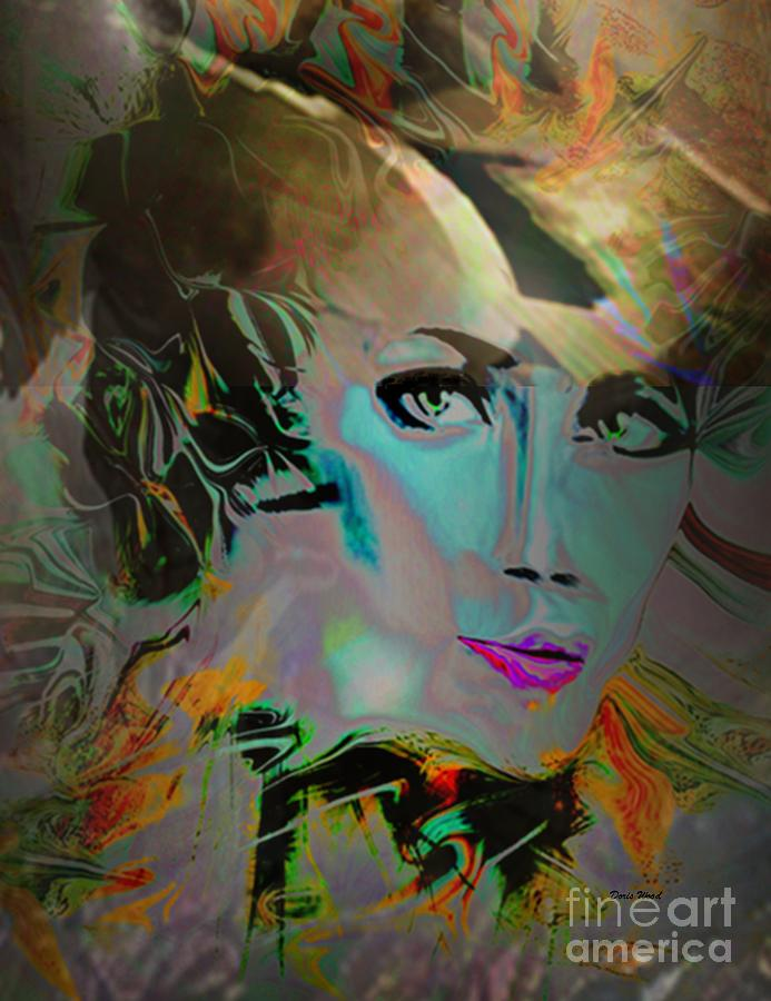 Abstract Digital Art - Abstract Portrait Of A Blue Lady by Doris Wood