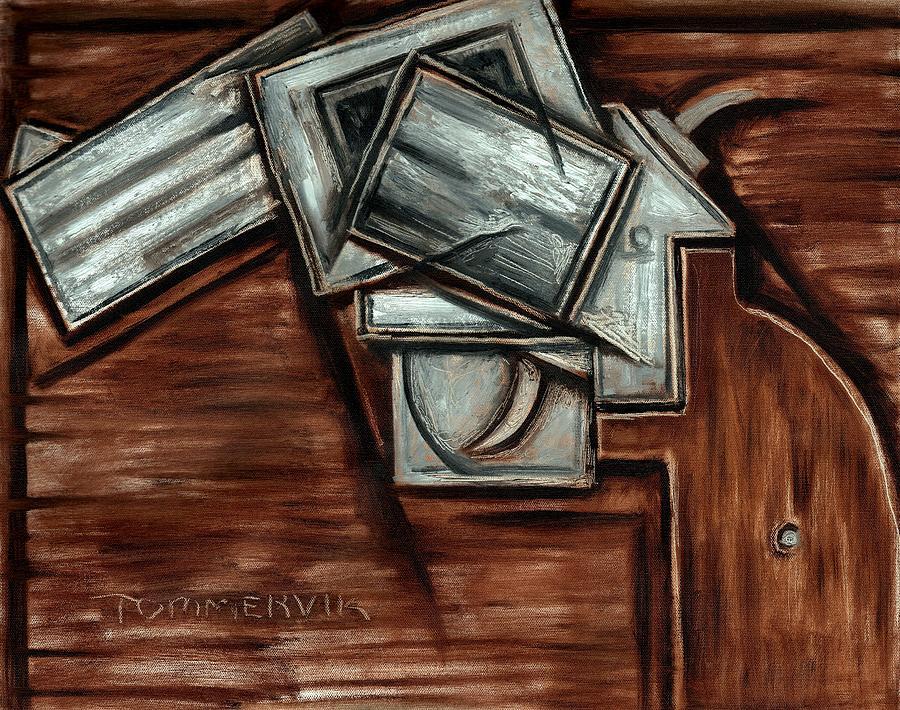 Revolver Painting - Tommervik Cubism Hand Gun Art by Tommmervik