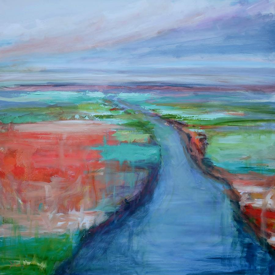 Winding River Painting - Abstract River by Donna Tuten