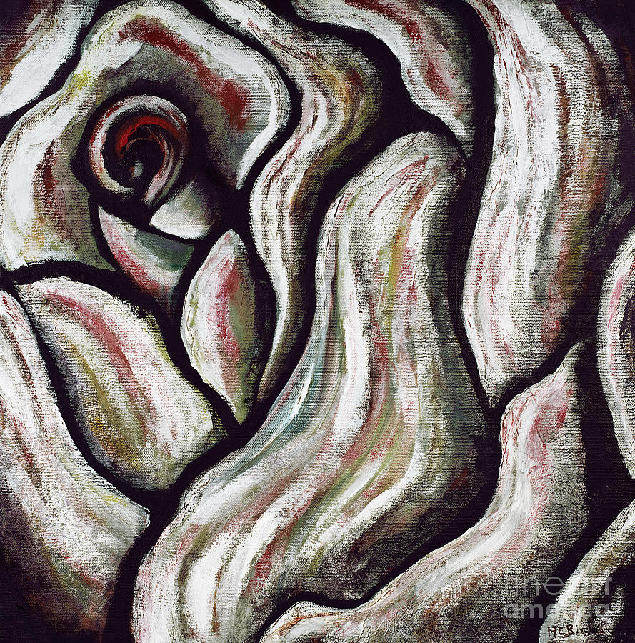 Abstract Rose Painting - Abstract Rose Flower Beautiful Black White Red Artwork Decoration Art Print For Sales by Marie Christine Belkadi