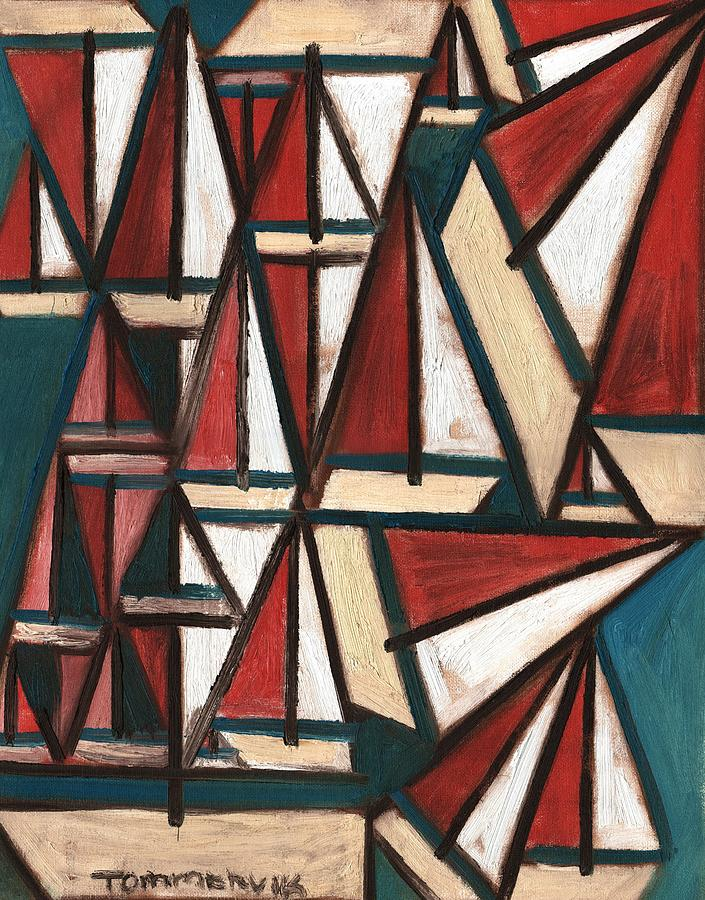 Boating Painting - Tommervik Abstract Sailboats Art print by Tommervik