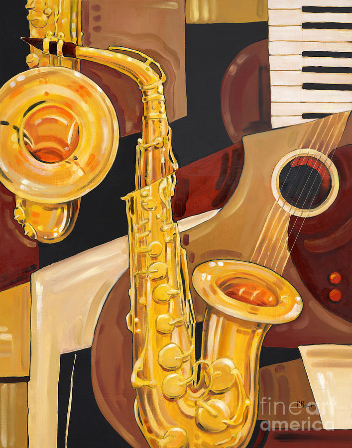 Music Painting - Abstract Saxophone by Paul Brent