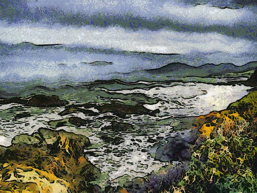 Bay View Digital Art - Abstract Seascape Morro Bay California by Barbara Snyder