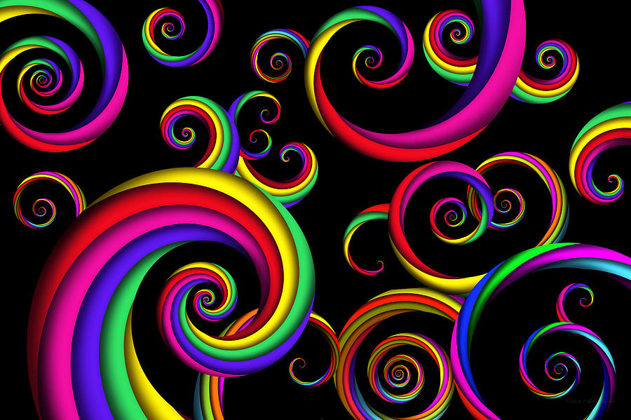 Abstract Digital Art - Abstract - Spirals - Inside A Clown by Mike Savad