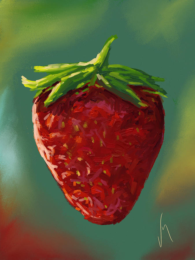 Abstract Strawberry Painting By Veronica Minozzi