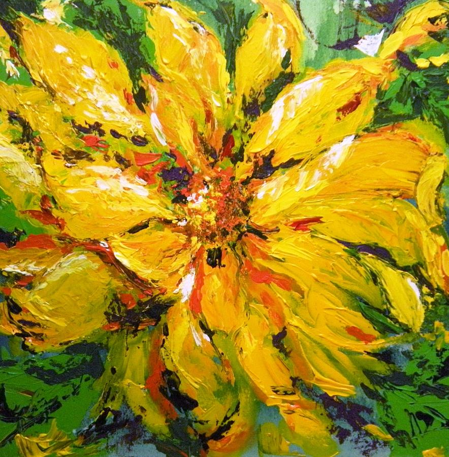 Abstract Sunflower Painting by Lori Ippolito