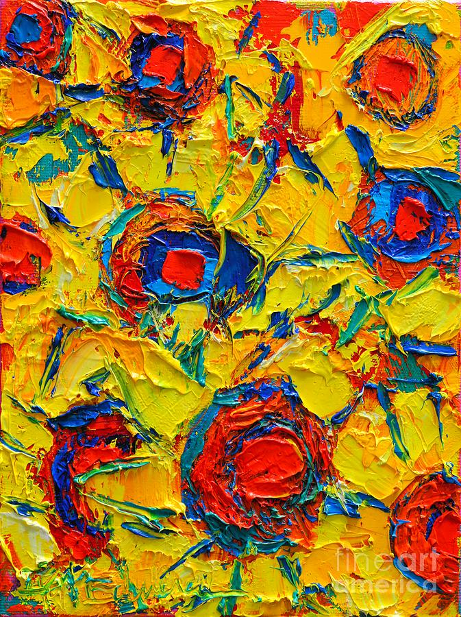 Sunflowers Painting - Abstract Sunflowers by Ana Maria Edulescu