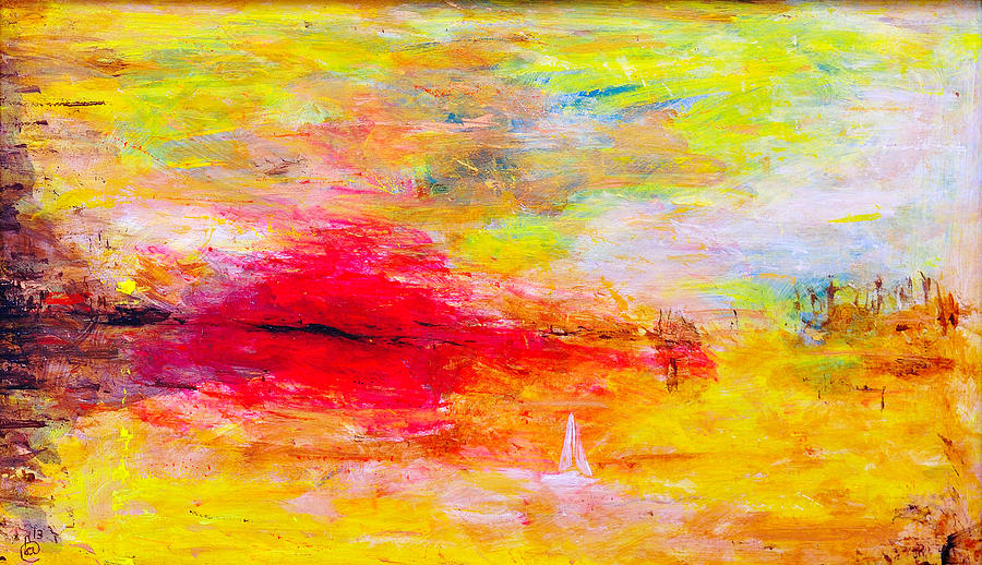 Abstract Sunset Over The Sea Painting