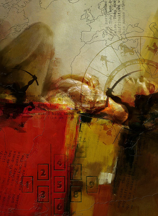 Virgo Painting - Abstract Tarot Art 014 by Corporate Art Task Force