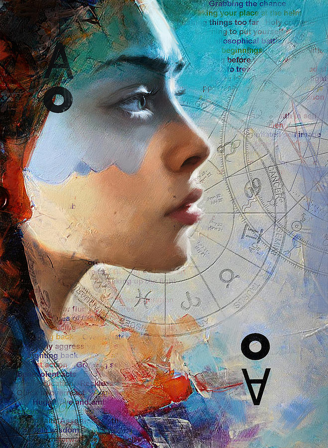 Virgo Painting - Abstract Tarot Art 019 by Corporate Art Task Force