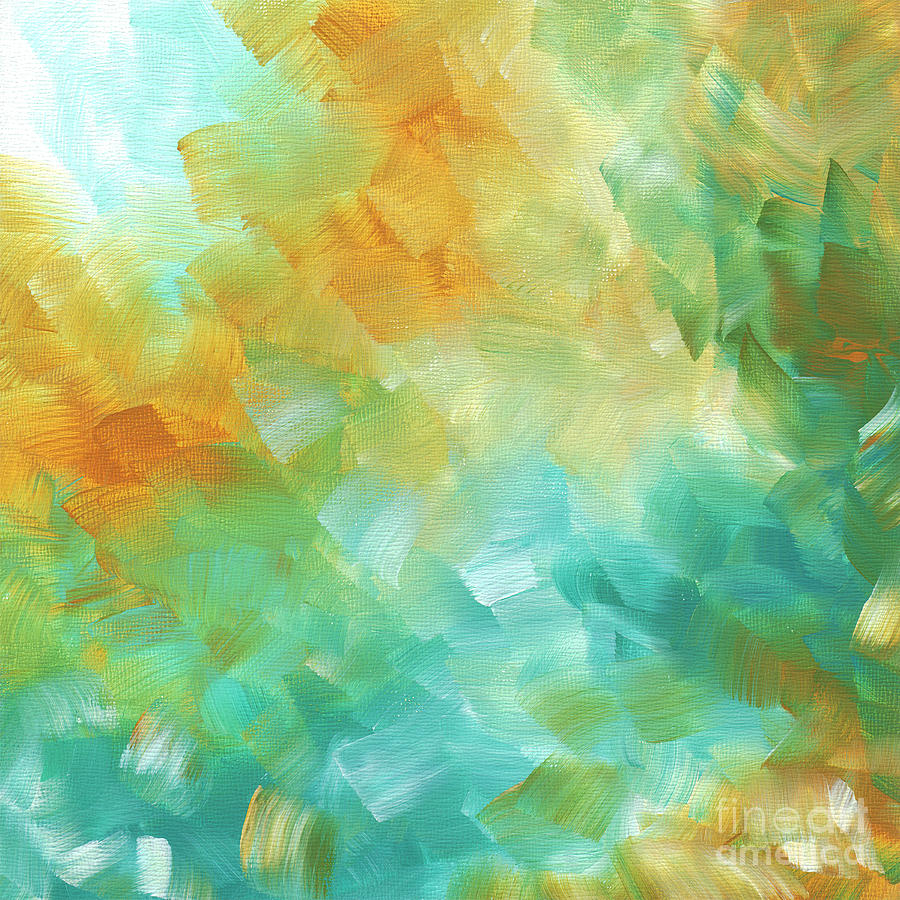 Abstract Painting - Abstract Textured Decorative Art Original Painting Gold And Teal By Madart by Megan Duncanson