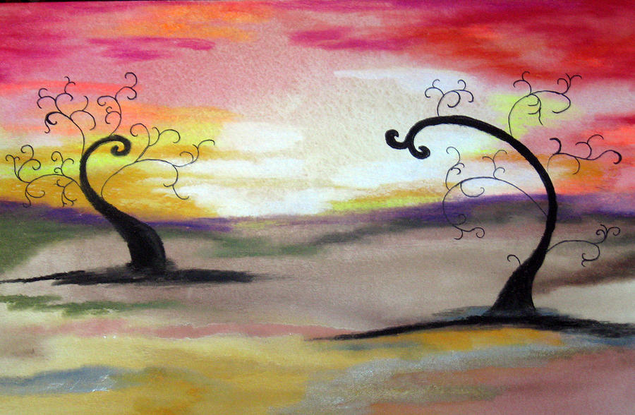 Oil Pastel Painting - Abstract Tree #1 by Melissa Murphy