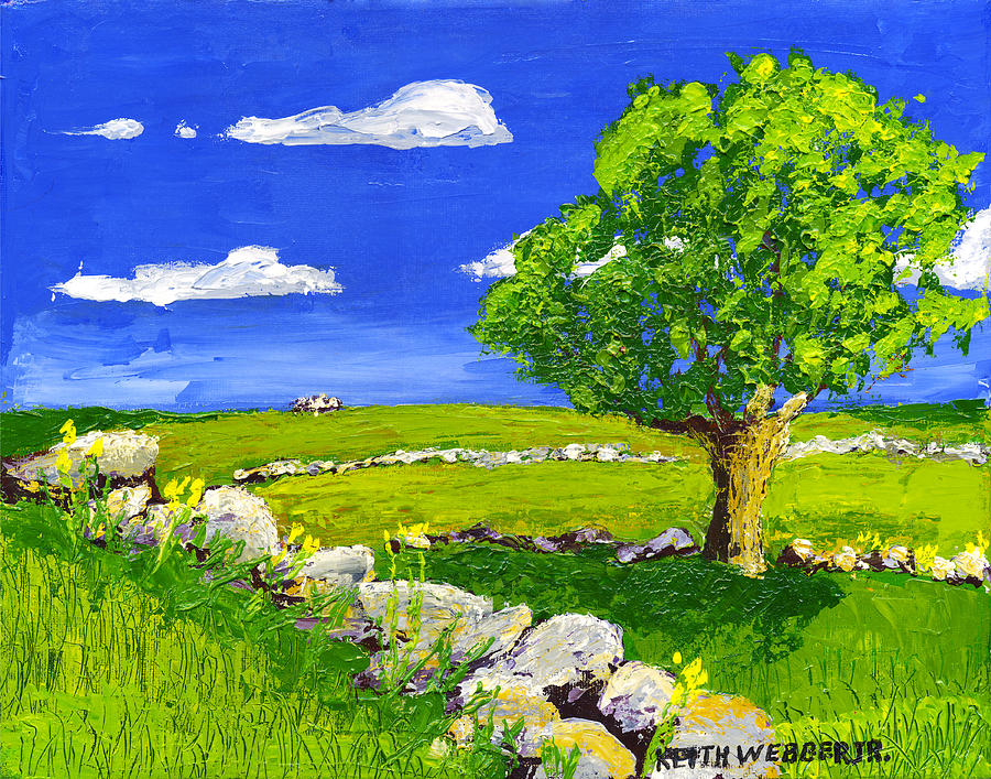 Abstract Tree In Maine Blueberry Field Painting Painting