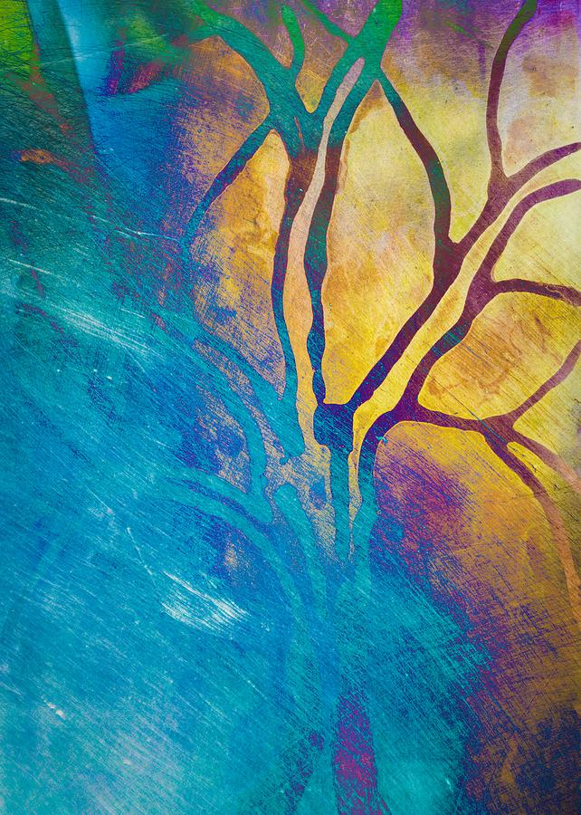 Fire And Ice Abstract Tree Art Mixed Media by Priya Ghose - photo #12