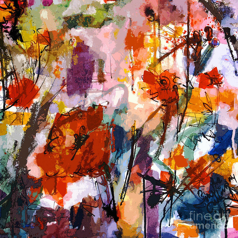 Abstract Painting - Abstract Tuscan Poppies Square Format by Ginette Callaway