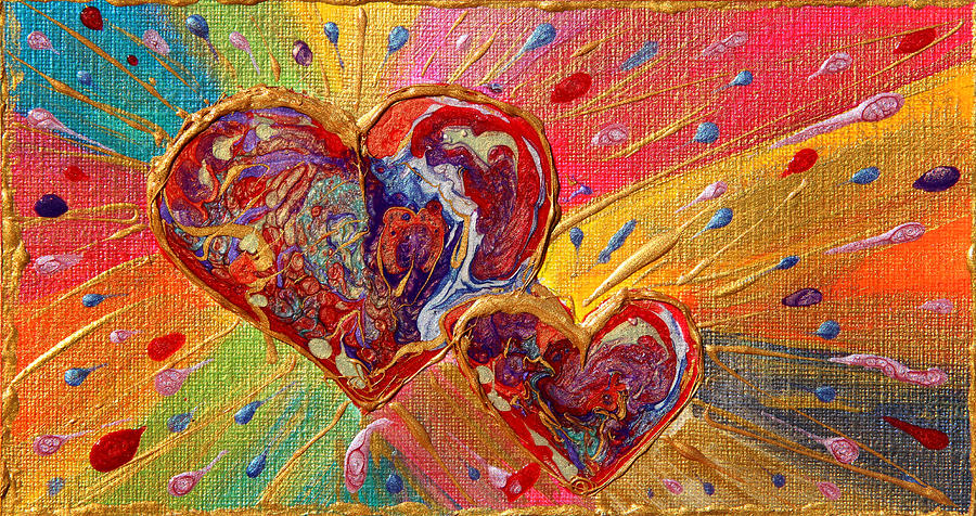 Abstract Painting - Abstract Valentines Love Hearts by Julia Apostolova