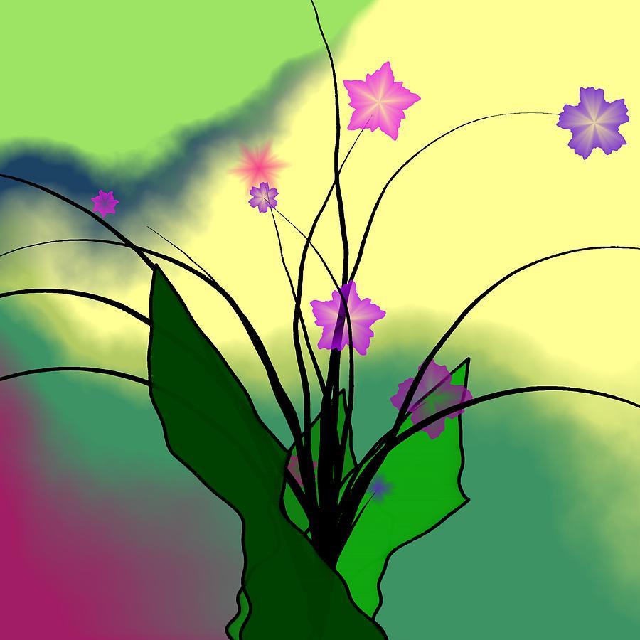 Spring Flowers Digital Art - Abstract Violets by GuoJun Pan