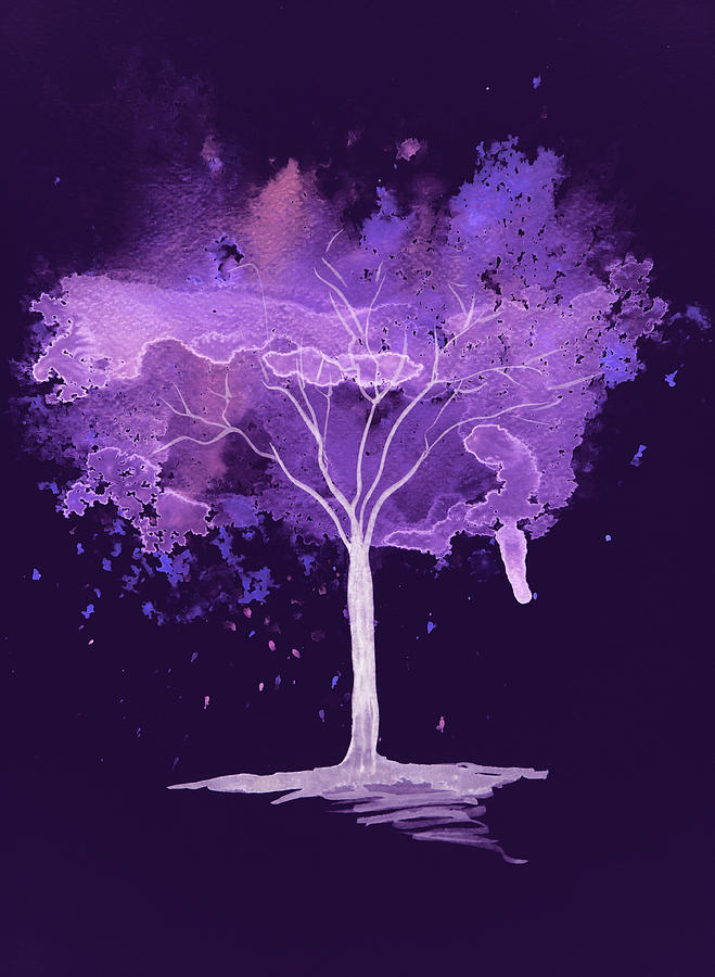 abstract watercolour tree in purple painting by steve and