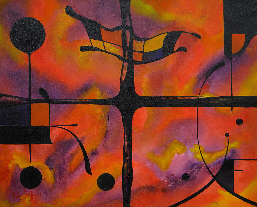 Colorful Painting - Abstract Windows by Ken Caffey