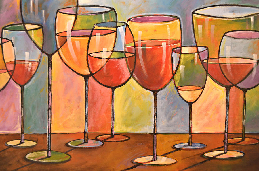 Wine Painting - Abstract Wine Art ... Whites and Reds by Amy Giacomelli