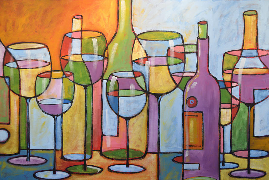 Abstract wine dining room bar kitchen art time to for Dining wall painting