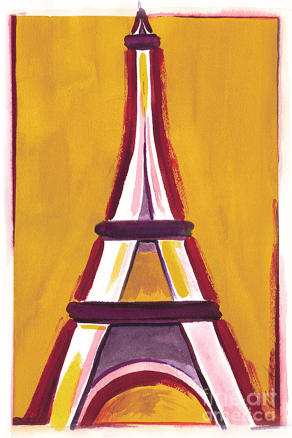 Abstract Yellow Red Eiffel Tower Painting by Robyn Saunders