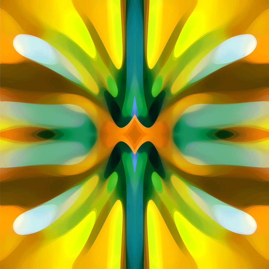 Abstract Painting - Abstract Yellowtree Symmetry by Amy Vangsgard
