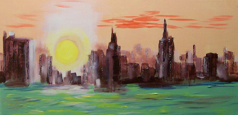 Abstracted Ny Skyline Painting by Rich Mason