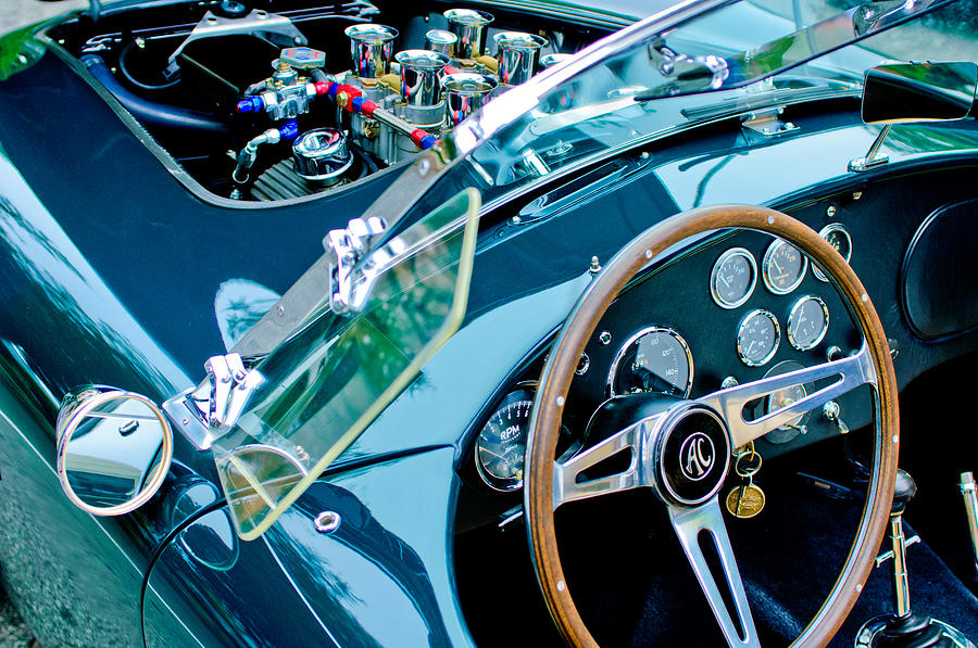 Sports Car Photograph - Ac Shelby Cobra Engine - Steering Wheel by Jill Reger