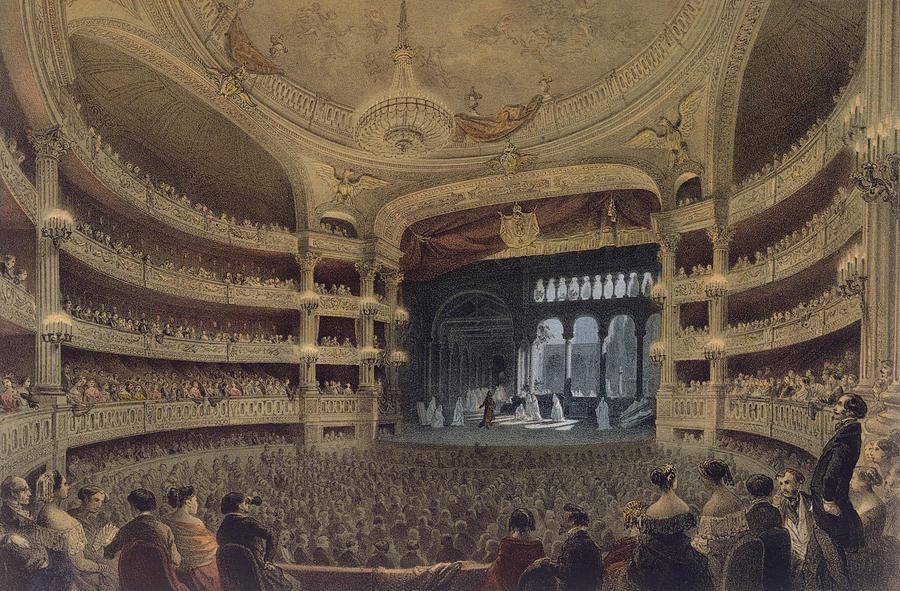 Spectators Painting - Academie Imperiale De Musique Paris by Louis Jules Arnout