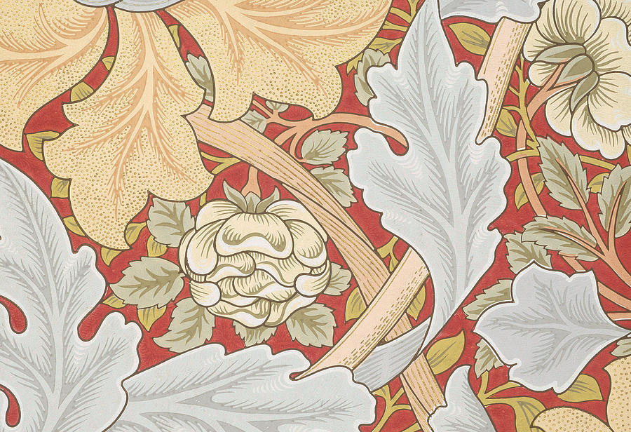 Acanthus leaves wild rose on crimson background painting for Acanthus leaf decoration