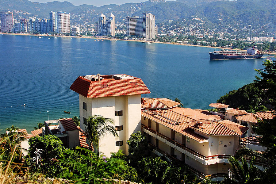 Travel Photograph - Acapulco Bay Architecture by Linda Phelps
