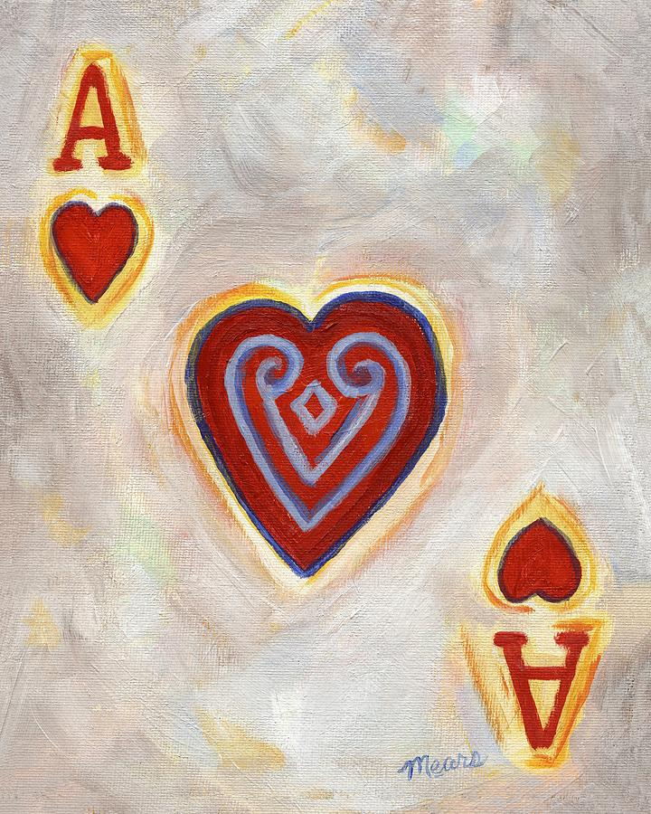 Card Painting - Ace of Hearts by Linda Mears